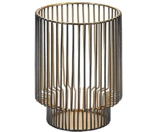 Windlicht Lilun, Metall, beschichtet, Schwarz, Goldfarben, Ø 9 x H 12 cm