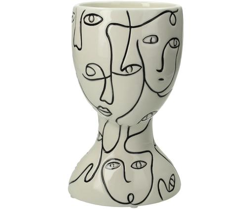 Osłonka na doniczkę Faces, Kamionka, Złamana biel, czarny, S 12 x W 20 cm