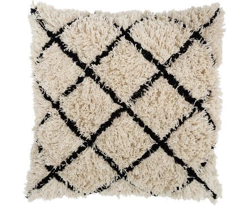 Cuscino da pavimento Fluffy, Rivestimento: cotone riciclato, Bianco latteo, nero, Larg. 60 x Lung. 60 cm