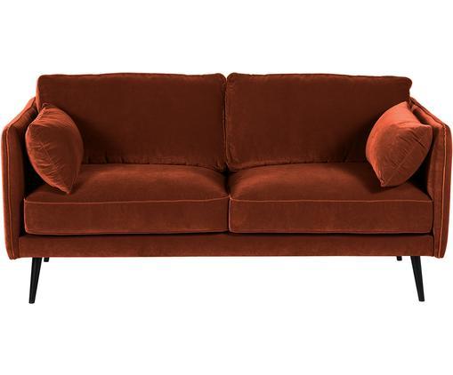 Samt-Sofa Paola (2-Sitzer), Bezug: Samt (Polyester) 70.000 S, Gestell: Massives Fichtenholz, Spa, Füße: Fichtenholz, lackiert, Samt Rostrot, B 179 x T 95 cm