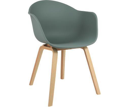 Krzesło z tworzywa sztucznego z podłokietnikami Claire, Nogi: drewno bukowe, Siedzisko: zielony Nogi: drewno bukowe, S 61 x G 58 cm
