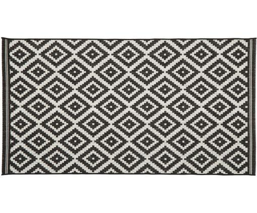 Tappeto da interno-esterno Miami, Retro: poliestere, Bianco crema, nero, Larg. 80 x Lung. 150 cm (taglia XS)