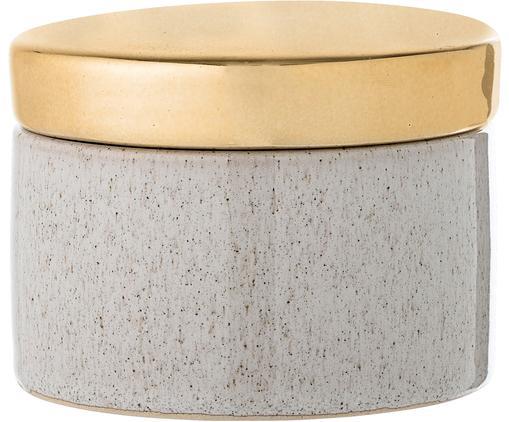 Contenitore Emilia, Ceramica, Contenitore: beige, Coperchio: dorato, Ø 11 x A 8 cm
