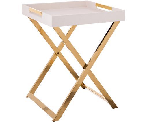 Tablett-Tisch Megan, Gestell: Metall, Tablett: Mitteldichte Holzfaserpla, Griffe: Metall, Beige, 46 x 55 cm