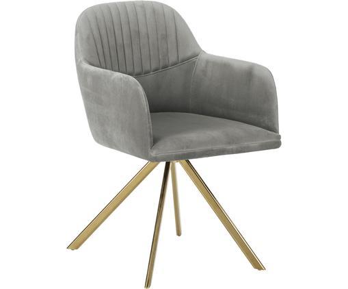 Krzesło obrotowe z aksamitu z podłokietnikami Lola, Tapicerka: aksamit (100% poliester) , Nogi: metal galwanizowany, Szary, S 52 x G 57 cm