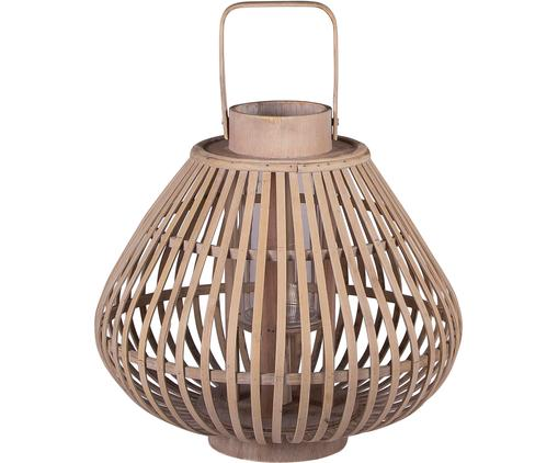 Świecznik Sahara, Rama: bambus Szklana wkładka: transparentny, Ø 32 x W 28 cm
