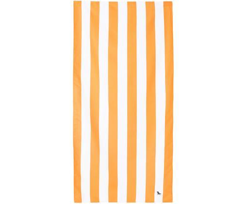 Szybkoschnący ręcznik plażowy z mikrofibry Cabana, Mikrofibra (80% poliester, 20% poliamid), Pomarańczowy, biały, S 90 x D 200 cm