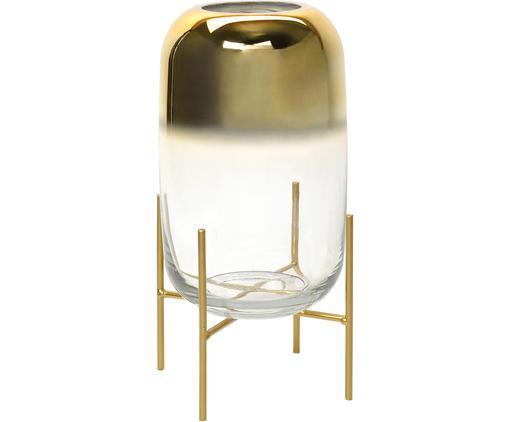 Portacandela Ter, Struttura: metallo rivestito, Dorato trasparente, Ø 18 x Alt. 32 cm