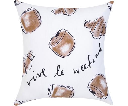 Housse de coussin 40x40 design Croissant von Kera Till, Blanc, brun