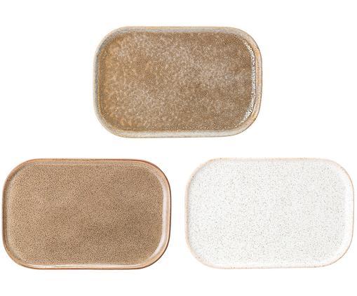 Set piatti da portata fatti a mano Addison, 3 pz., Terracotta, Beige, bianco, L 15 x P 23 cm