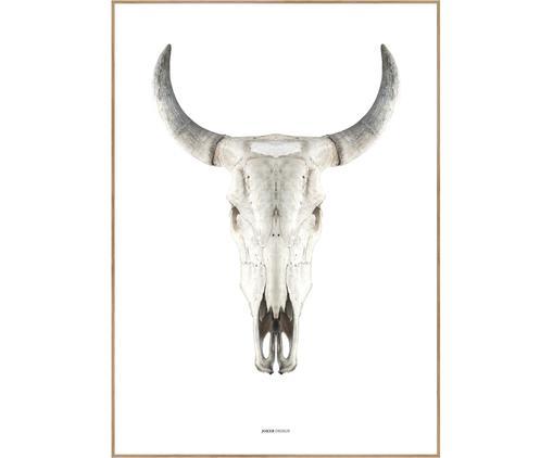 Stampa digitale incorniciata Cow Skull, Immagine: stampa digitale su carta , Cornice: Pannello di fibra ad alta, Marrone, beige, bianco, Larg. 30 x Alt. 40 cm