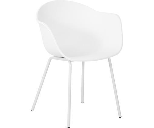 Kunststoff-Armlehnstuhl Claire mit Metallbeinen, Sitzschale: Kunststoff, Beine: Metall, pulverbeschichtet, Weiß, B 61 x T 58 cm