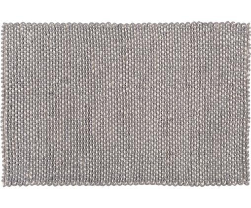 Ręcznie szyty dywan z wełny Norah, Szary, kremowy