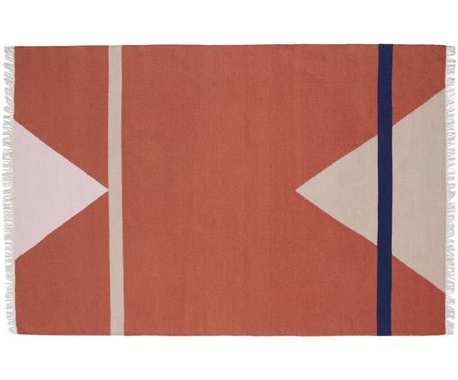 Tappeto in lana tessuto a mano Sharp, Rosso terracotta, beige, rosa, blu scuro