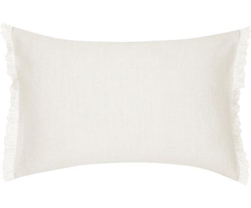 Poszewka na poduszkę z lnu z frędzlami Luana, Len, Beżowy, S 30 x D 50 cm