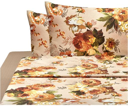 Set lenzuola in cotone Virginia 4 pz, Cotone, Marrone, multicolore, 250 x 280 cm