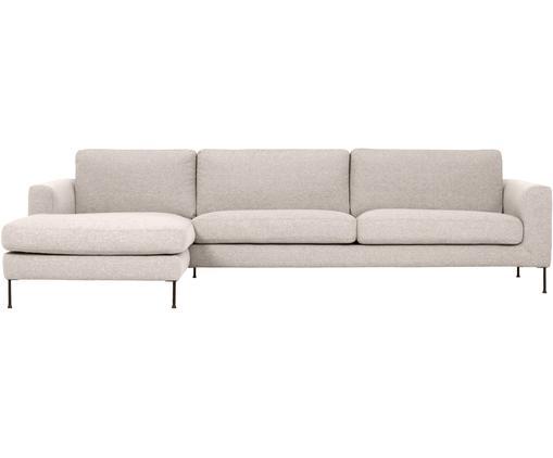 Hoekbank Cucita (4-zits), Bekleding: geweven stof (polyester), Frame: massief grenenhout, Poten: gelakt metaal, Beige, B 302 x D 163 cm