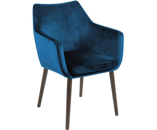 Fluwelen armstoel Nora, Bekleding: polyester fluweel, Poten: gebeitst en gelakt eikenh, Bekleding: donkerblauw. Poten: donkerbruin, 58 x 84 cm