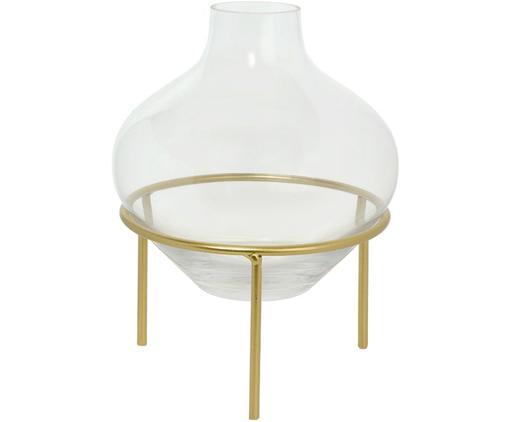 Vase Mikel mit Metallgestell, Vase: Glas, Gestell: Metall, lackiert, Messingfarben, Ø 21 x H 26 cm