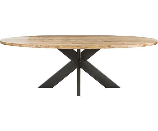 Tavolo da pranzo in legno massiccio Sara, Legno di teak, nero