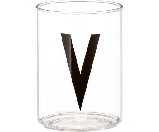 Vasos con letra Personal (variantes de A a Z), Vidrio de borosilicato, Transparente, negro, Vaso V