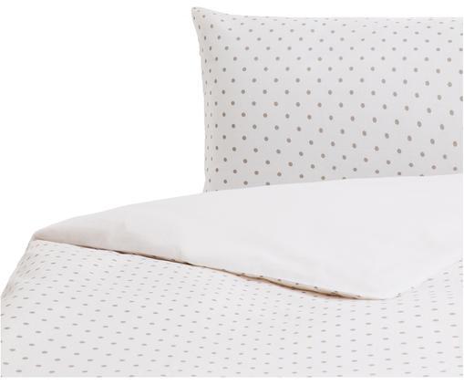 Parure copripiumino in cotone Lilca, Cotone, Fronte: grigio, bianco Retro: bianco, 155 x 200 cm