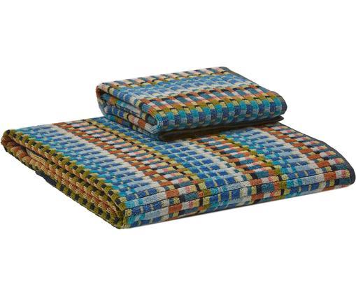 Lot de serviettes de bain design Walbert, 2élém., Multicolore