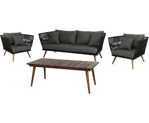Garten-Lounge-Set Rivoli, 4-tlg., Gestell: Polyester, UV-stabilisier, Grau, Sondergrößen