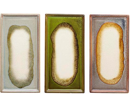 Set piatti da servizio Muco, 3 pz., Terracotta, Grigio, verde, marrone, Larg. 20 x Prof. 10 cm