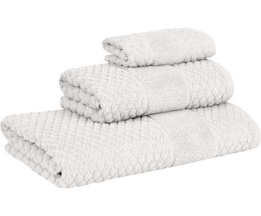 Set 3 asciugamani con motivo a nido d'ape Katharina, Grigio argento, Diverse dimensioni