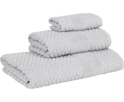 Komplet ręczników Katharina, 3 elem., Bawełna Średnia gramatura, 500g/m², Srebrnoszary, Różne rozmiary
