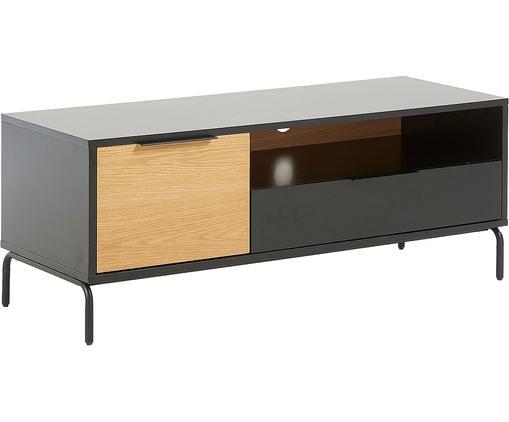 Tv-meubel Stellar met een deur en lade, Zwart, eikenhoutkleurig, 120 x 50 cm