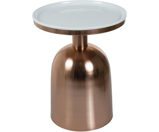 Tavolino rotondo Ikon, Piano d'appoggio: metallo smaltato, Struttura: metallo verniciato, Color rame, bianco, Ø 38 x Alt. 46 cm