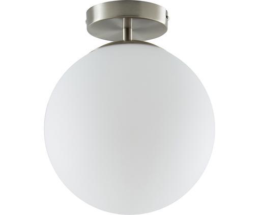 Plafonnier boule en verre Hitch, Rosace et douille: couleur argentée, mat Abat-jour: blanc