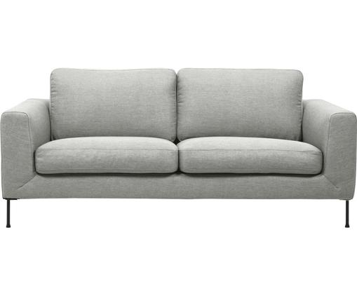 Sofa Cucita (2-Sitzer), Bezug: Webstoff (Polyester) 45.0, Gestell: Massives Kiefernholz, Füße: Metall, lackiert, Webstoff Hellgrau, B 187 x T 94 cm