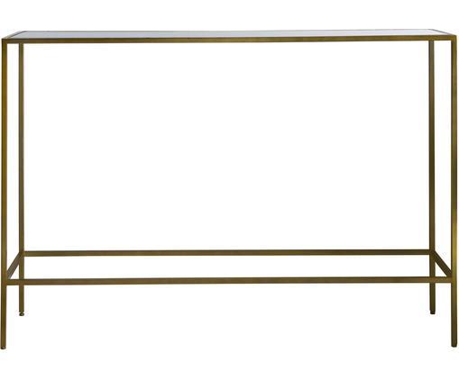 Consolle con piano in vetro Rothbury, Struttura: metallo verniciato, Mensola: vetro, Bronzo, trasparente, Larg. 110 x Prof. 35 cm