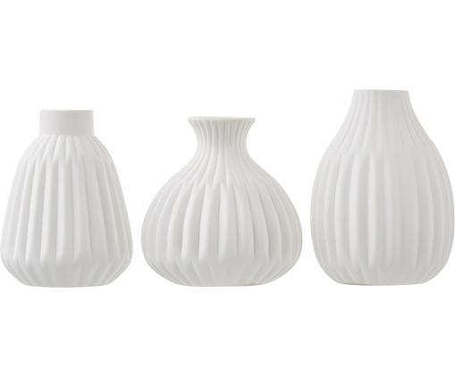 Set 3 vasi Palo, Porcellana, Superficie ruvida bianca, non satinata, Diverse dimensioni