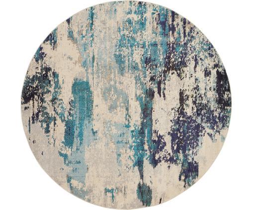 Runder Designteppich Celestial in Blau-Creme, Flor: Polypropylen, Elfenbeinfarben, Blautöne, Ø 160 cm (Größe L)