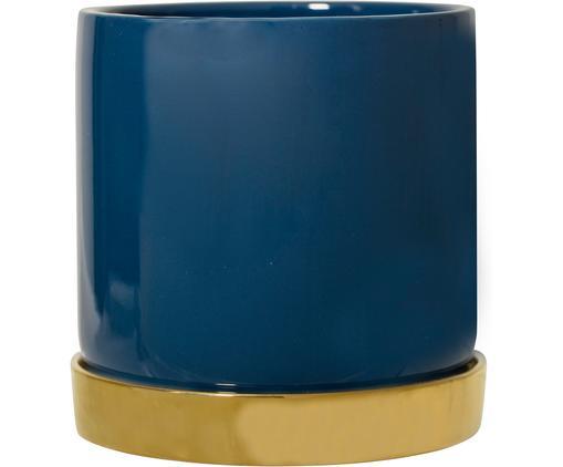 Portavaso Elin, Terracotta, Recipiente: blu Sottobicchiere: dorato, Ø 14 x Alt. 14 cm