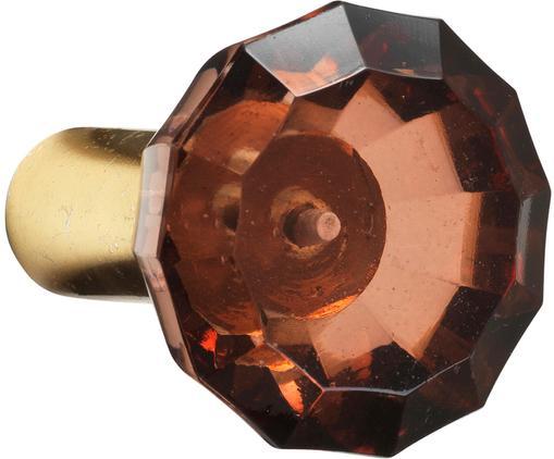 Gancio da parete Sofie Diamond, Fissaggio a parete: ottonato Fronte: rosso, trasparente, Ø 6 x Prof. 4 cm
