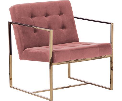 Fauteuil lounge en velours Manhattan, Vieux rose