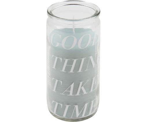 Kerze Good Things, Glas, Wachs, Transparent, Mintfarben, Ø 6 x H 14 cm