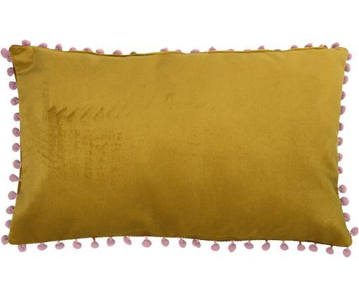 Samt-Kissenhülle Avoriaz in Gelb mit Bommeln, 70% Polyestersamt, 30% Acryl, Gelb, Pink, 30 x 50 cm
