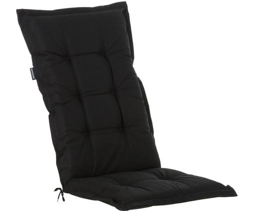 Einfarbige Hochlehner-Stuhlauflage Panama, Bezug: 50% Baumwolle, 50%Polyes, Schwarz, 50 x 123 cm