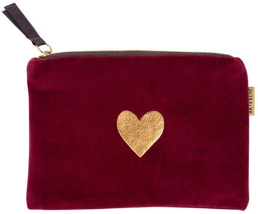 Samt-Kosmetiktasche Heart, Polyestersamt, Rot, Goldfarben, 17 x 12 cm