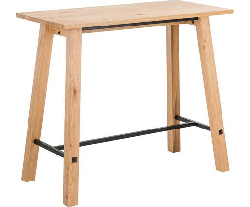 Table haute en bois noire Stockholm, Chêne sauvage Renforts: noir