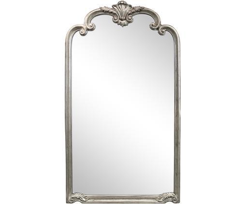 Großer Anlehnspiegel Palazzo mit gebürstetem Silberrahmen, Rahmen: Kunstharz, Spiegelfläche: Spiegelglas, Silberfarben, 104 x 184 cm
