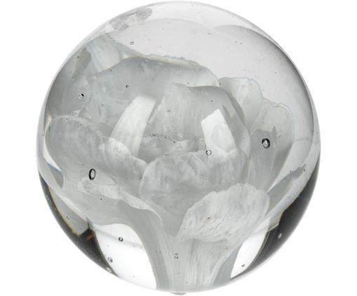 Briefbeschwerer Flower, Glas, Weiß, Ø 7 x H 7 cm