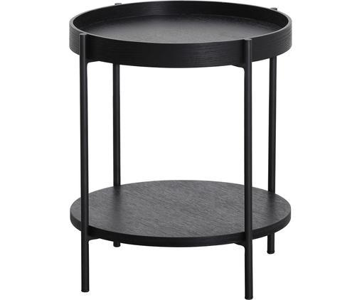 Stolik pomocniczy z półką Renee, Blat: płyta pilśniowa średniej , Stelaż: metal malowany proszkowo, Blaty: czarny Stelaż: czarny, matowy, Ø 44 x W 49 cm