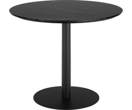 Tavolo rotondo effetto marmo Karla, Piano d'appoggio: pannello di fibra a media, Gambe: metallo verniciato a polv, Piano d'appoggio: nero marmorizzato Tavolino da salotto: nero opaco, Ø 90 x Alt. 75 cm